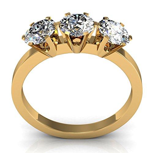 Brillante Anillo Oro 18 kt Y Diamantes G-VS1 Con Certificado GIA Peso 1.05 Quilates (Talla 7 a 27).