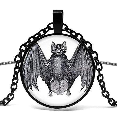 DADATU Halsketten für Herren Halloween Fledermaus Glas Anhänger Halskette Trick Oder Behandeln Halloween Anhänger Charm Halskette