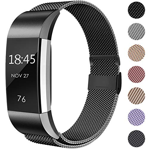 Hamile Kompatibel für Fitbit Charge 2 Armband, Metall Armband, Edelstahl Sport Ersatzarmband für Fitbit Charge 2 Fitness Tracker, Groß Schwarz