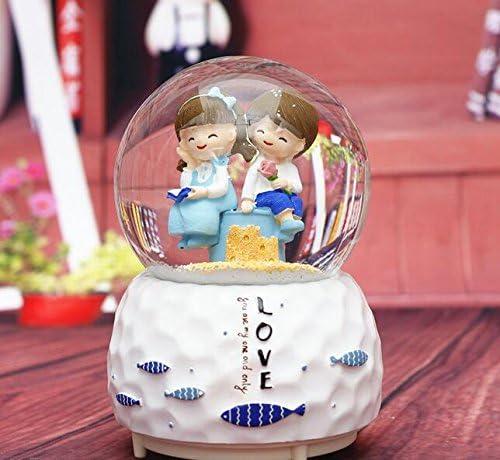 Mings Convient au Cadeau Little Girls Style méditerranéen Aime la boîte à Musique de Boule de Cristal Le Flocon de Neige Le Cadeau de la Saint-Valentin-Envoyer la Fleur | La Reine De La Qualité