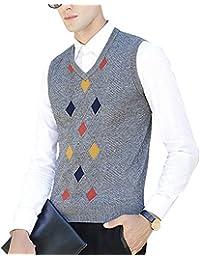 Hombre Sin Mangas Cuello en V Chaleco de Suéter Patrón de Rombo Negocio Punto Chalecos