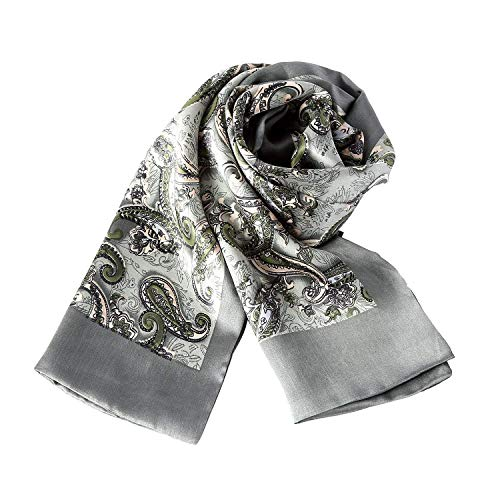 UK_Stone Klassisch 100% Seide Paisley Blumen Halstuch Herren Schal Weihnachtsgeschenk (Paisley # 2 Graugrün)
