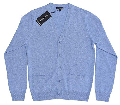 STATE CASHMERE langärmlige Strickjacke aus 100% reinem Kaschmir mit Knöpfen vorne für Herren Baby Blau