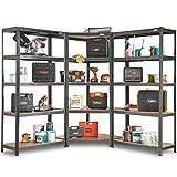 VonHaus 5 Tier Garage Shelving 3pc Corner Bundle Metal Racking, Steel & MDF Boltless Shelves or Workbench  Massive 2625KG Capacity 175KG Per Shelf