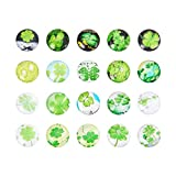 PandaHall 10 Stück Grün Farbe Vierblättriges Kleeblatt Bild Halbrund Kuppel Glascabochons, Größe 12x4 mm
