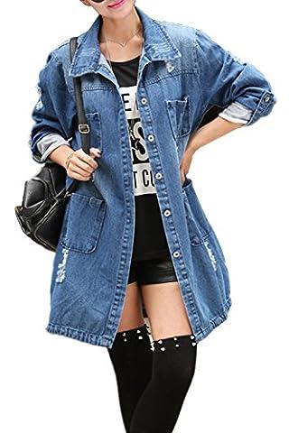 Beunique Femme Manteaux Veste Longue en Jean Grande Taille Manches Longues Automne Hiver Mode
