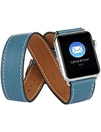 Apple Watch Banda, Sanday® Lujo Doble Tour cuero reloj banda correa pulsera muñeca banda de repuesto con adaptador cierre para Apple reloj iWatch, color Blue 42mm