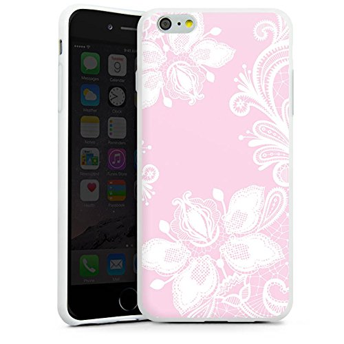 Apple iPhone 5c Silikon Hülle Case Schutzhülle Blumen Spitze Muster Silikon Case weiß