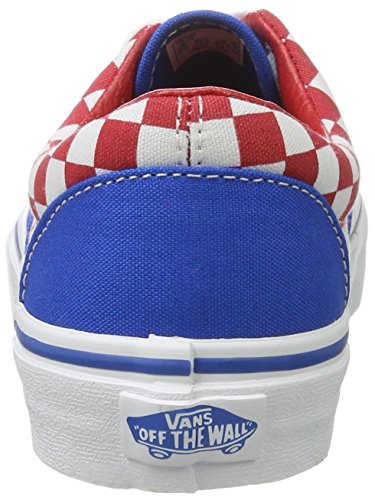 Vans Uy Era, Scarpe da Ginnastica Basse Bambino Blu (Checkerboard Racing Red/imperial Blue)