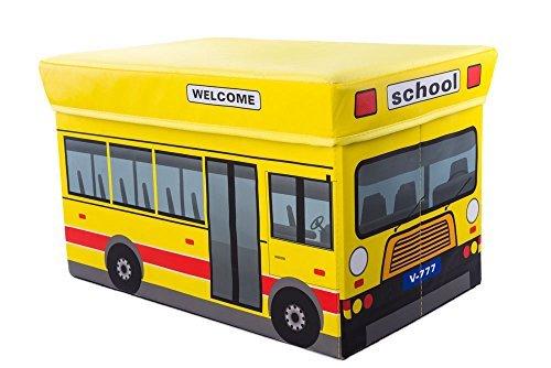 Clever Creations - Caja plegable con forma de otomana - Para guardar y organizar juguetes, libros, ropa, etc. - Ideal para una habitación infantil - Autobús escolar