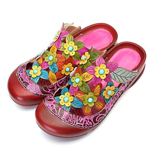 Gracosy pantofola in pelle scarpe da donna estivi mocassini sandali piatti slip-on estiva slipper di oxford vintage a suola spessa e con motivo a fiori colorati backless fannullone 44eu 43eu viola