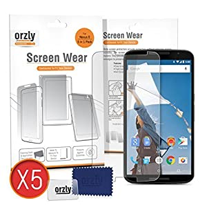Orzly® - GOOGLE NEXUS 6 Screen Protector MULTI PACK of 5x Transparent Screen Protectors / Screen Guards / Transparente Display-Schutzfolien ausschließlich für GOOGLE / MOTOROLLA NEXUS 6 SmartPhone - 2014 Model