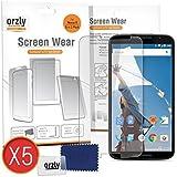 Orzly® - GOOGLE NEXUS 6 Pellicola Protettiva / Protezione dello Schermo MULTI PACHETTO (salvaschermo 5 PACK) - 5x Guardie Proteggi / Pellicole per Display - Progettato Esclusivamente per GOOGLE / MOTOROLA NEXUS 6 SmartPhone / Cellulare / Phablet - 2014 Modello