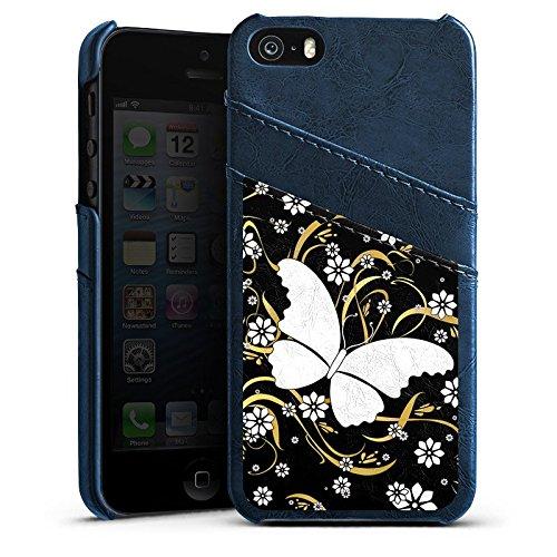 Apple iPhone 4 Housse Étui Silicone Coque Protection Papillon Fleur Fleur Étui en cuir bleu marine