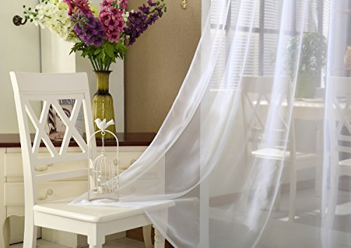 WOLTU VH5515ws Gardine Vorhang transparent mit 50mm KRÄUSELBAND Stores Schal Fensterschal Dekoschal Voile 140×225 cm Weiß - 3