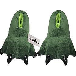 Dinosaur Claws Cotton Slippers Unisexo Otoño invierno Zapatilla Lana de coral Animal Pata Zapatos Claw Decor Dinosaurio Pantuflas de felpa(dinosaurio verde) (men:39-44)
