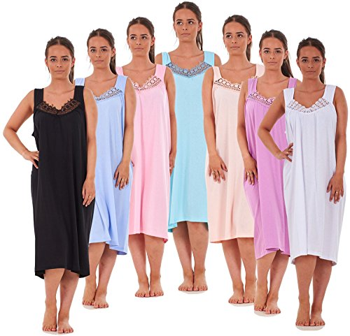 Bay eCom UK Ladies Nightwear V Neck Plain 100% Cotton Sleeveless Long Nightdress M to XXXL