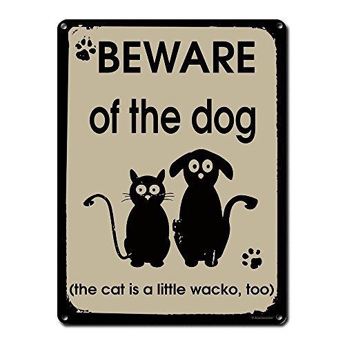Aersing Vintage Wand Deko Schild Beware of The Dog The Cat ist Wacko Too Funny Hund Schilder für Dog Lover Walker Pet Sitter Tierarzt Groomer Mottoparty Quotes Metall Post Plaue für Frauen Herren