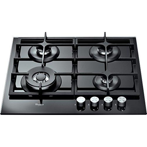 Whirlpool AKT 6455/NB Plaque de cuisson au gaz encastrable avec boutons rotatifs sur la partie supérieure avant Noir