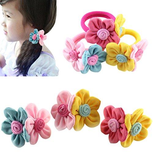 (HABI mehrfarbig vielfältig Designs Haarspange Haargummi Blume Fliege Schleife Pferdeschwanz für Mädchen)