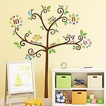 Decowall DA-1503B Árbol de Números de Búho Vinilo Pegatinas Decorativas Adhesiva Pared Dormitorio Salón Guardería Habitación Infantiles Niños Bebés
