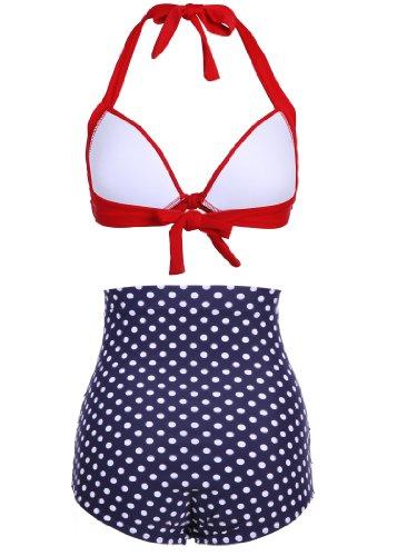 Dunkelblauer Polka Dot Pünktchen Retro PinUp Vintage Bikini mit hoher Taille und rotem Oberteil, Mehrfarbig, Large -