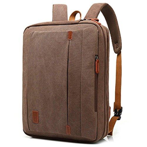 CoolBell 17,3 Zoll umwandelbar Laptop Tasche/Rucksack Messenger Bag Canvas Umhängetasche Business Backpack Arbeitastasche Mehrzweck Aktentasche Notebooktasche für Laptop/MacBook / Herren(Kaffee)