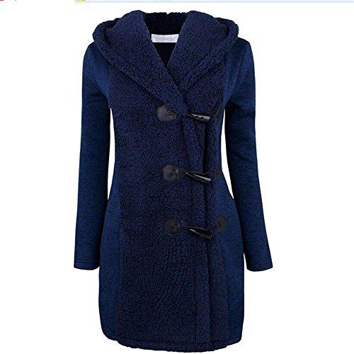 Dufflecoat Damen, CRAVOG Lange Einreiher Warm Verdickung Oberbekleidung Wintermantel Winterjacke Pelzmantel Wollmantel mit Kapuze Blau