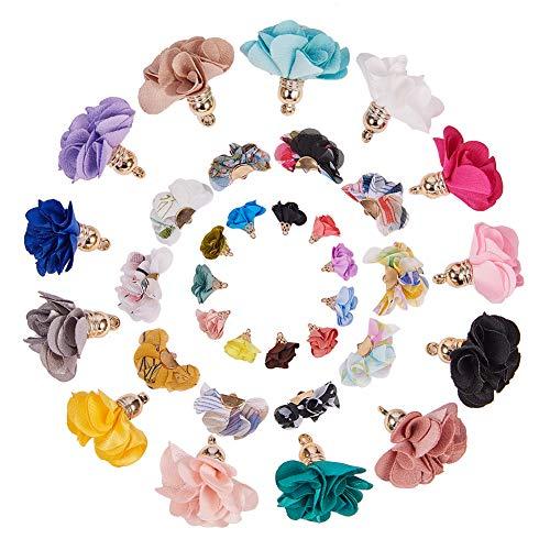 SUNNYCLUE 60 stücke 3 Stil 3D Tuch Blume Charms Anhänger Stoff Floral Blütenblatt Quaste mit Acrylkappen Schlüsselanhänger für Schmuck Machen - Stil Ein Stück Tuch