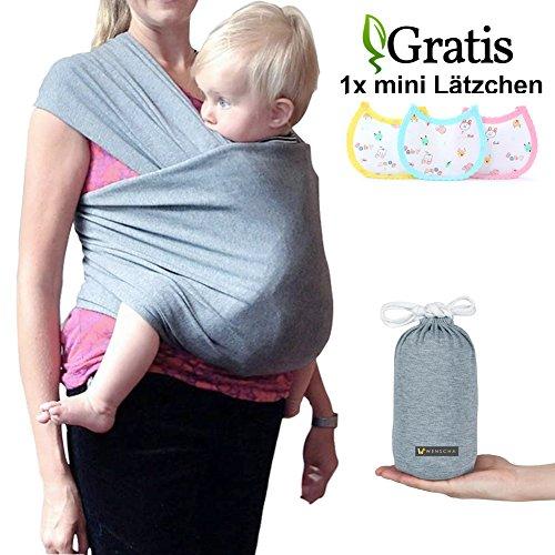 Babytragetuch, Babybauchtrage aus Baumwolle Innerhalb 15KG Atmungsaktiv Babybauchtrage Kindertragetuch Sling Baby Warp für Neugeborene,GRATIS 1x Baby-Lätzchen