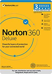Norton 360 Deluxe | 3 Users 3 Years| Total Security for PC, Mac, Android or iOS |Code emailed in 2 Hrs