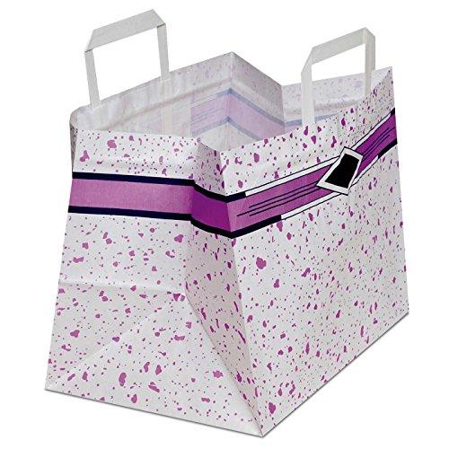 250 x Konditortaschen Take Away mit weitem Boden weiss, Motiv: Topas 26+18x25 cm | stabile Konditortüten mit breitem Boden