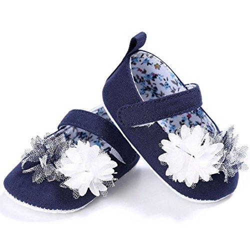 Kingko® Stilvoll und komfortabel Baby Blume Schritt Schuhe Säugling Kinder Mädchen Weiche Sole Krippe Kleinkind Neugeborene Schuhe (0~18 Monat) Dunkelblau