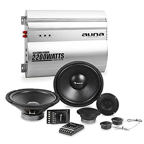 auna Silverhammer Car-HiFi-Set Lautsprecher Komplettset + 2-Kanal-Endstufe (2 x 2000 Watt Subwoofer, 2 x 2000 Watt Mitteltöner, 2200 Watt max Verstärker-Leistung) silber