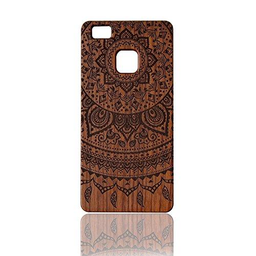 Sunroyal® Funda Madera Huawei P9 Lite Wooden de Bambú Natural de la