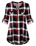 Odosalii Womens Zip Up Plaid Tunic Blouse Rolled Up Sleeve Polo Top Check Shirts, XL, #1red