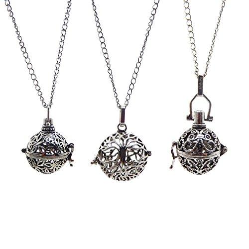 Julie Wang 3Antik Silber ätherisches Öl Diffusor Halskette Aromatherapie Anhänger Parfüm Schmuck Baum/Wolken/Schmetterling Käfig mit Lava Perlen
