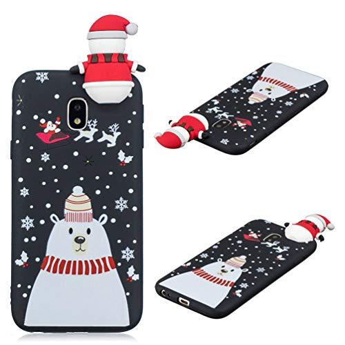 Edauto J3 2017 Hülle Case für Samsung Galaxy J3 2017 Schutzhülle 3D Weihnachten Serie Spielzeug Handytasche Etui TPU Silikon Case Cover Handycase Tasche Handyschale Bumper Skin Schneemann Weihnachten Hard Case
