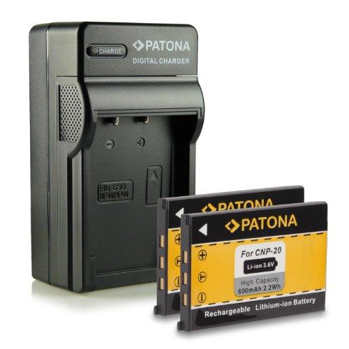 PATONA-Caricabatteria-2x-Batteria-NP-20-per-Casio-Exilim-EX-M1-EX-M2-EX-M20-EX-S1-EX-S1PM-EX-S2-EX-S3-EX-S20-EX-S23-EX-S100-EX-S500