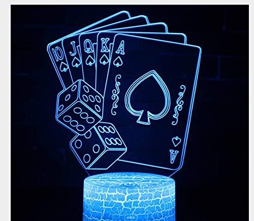 Tywwan 3D Nachtlicht Für Kinder Optische Täuschung Lampe 7 Farben Ändern Mit Touchschalter Schlafzimmer Schreibtischlampe Maple Leaf Abstract, Spielkarten (Spielkarten Waffen)