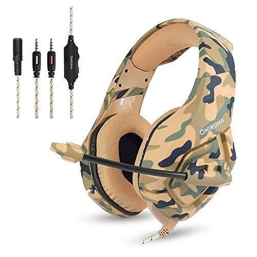 Gaming Kopfhörer - PS4 Headset Camouflage, ONIKUMA K1-B 3,5mm Stereo mit Mikrofon Stumm In-Line (Clip) Lautstärkeregler für Sony Playstation 4 Xbox One PC Mac iPad Tablet Smartphone (Yellow, K1-B)