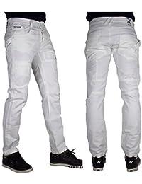 Peviani Jeans Combat G Droit Ajusté Jeans Hommes Pantalon Urbain Hip Hop Étoile Blanc
