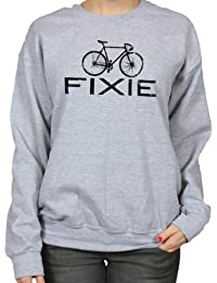Fixie Bike Fixed Gear Cycling Bicycle Hipster Single Speed Womens Sweatshirt