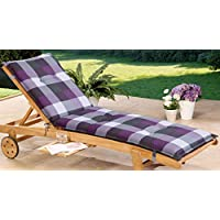 Schwar Textilien Tumbona con ruedas–Tumbona jardín tumbona tumbona–8cm de grosor karomuster, lila-grau