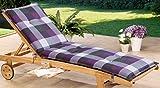 Schwar Textilien Auflage Polster für Liegestuhl und Garten-Liege Liegestuhlauflage 8cm Dick Karomuster (Lila-Grau)