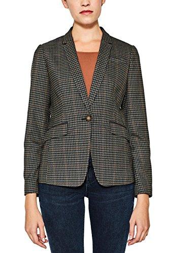 ESPRIT Damen 107EE1G008 Blazer, Mehrfarbig (Pale Khaki 265), 38 - Karo-blazer