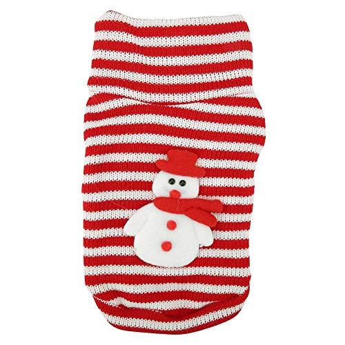 Semme Haustier-Kostüm, Haustier-Weihnachtsstrickjacke-warme Gestreifte Nette Welpen-Kleidung Weihnachtshund-Schneemann-Kostüm<br/>(XS)