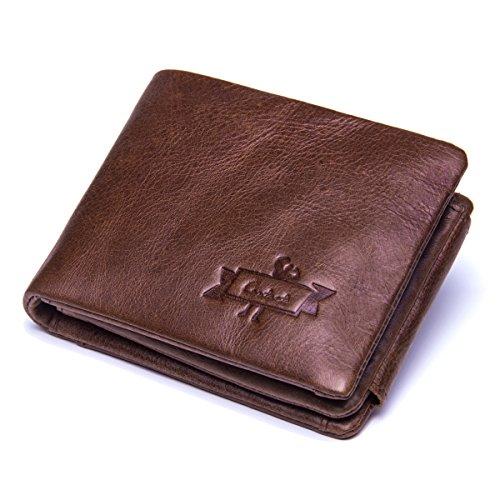 Contacts Herren echtes Leder Rindsleder Trifold Reißverschluss Münzen Tasche kurz Brieftasche Dunkelbraun (Scheckheft Inhaber Brieftasche)