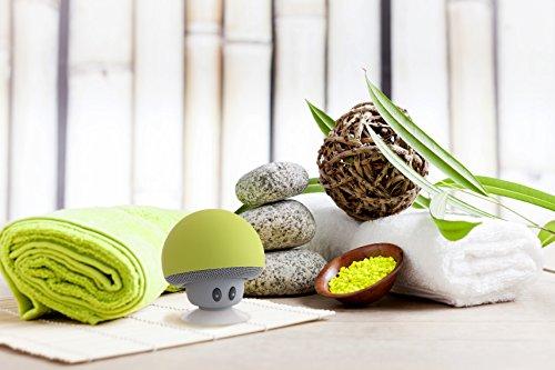 Mobiler Tragbarer Bluetooth Lautsprecher Pilz Speaker Boombox mit 3W und Freisprecheinrichtung, gelb-grün