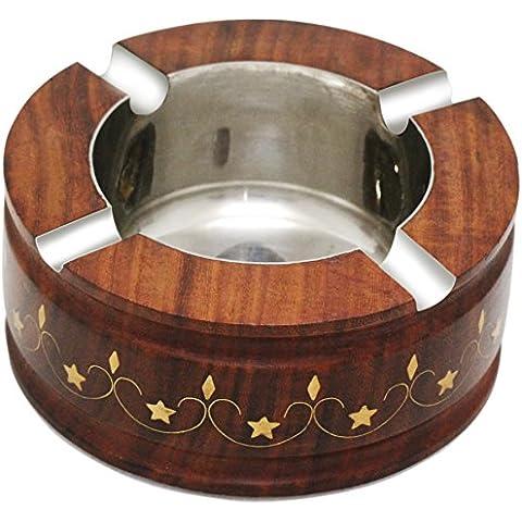 Mejor precio - Cenicero SouvNear retro con boquilla de 4 ranuras y un tazón recipiente de acero - Ronda cenicero de madera de la Oficina / bar / interior y exterior de Trabajo con latón embutido -
